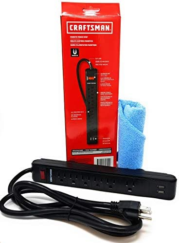 Craftsman Magnetic Power Outlet Strip and Tesadorz Microfiber Towel