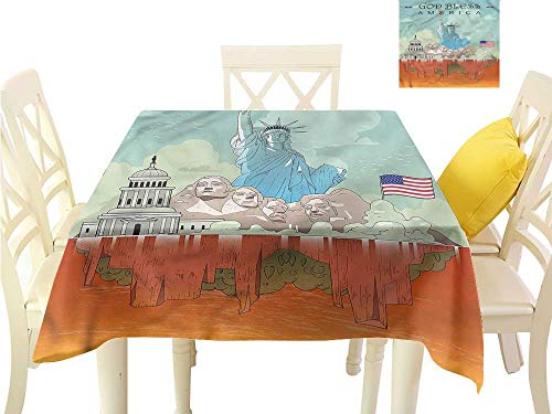 (Davishouse Elegance Engineered Tablecloth USA National Heritages Indoor Outdoor Camping Picnic W70 x L70)