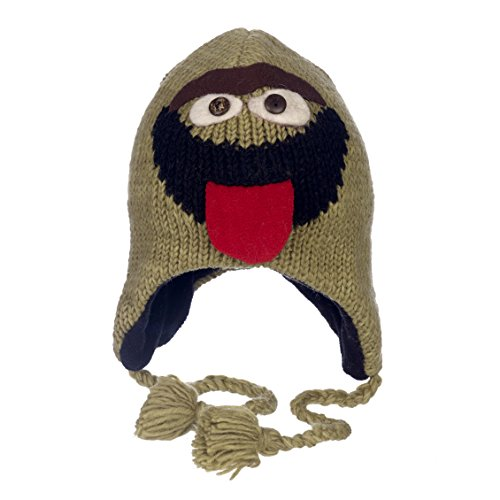 Oscar The Grouch Adult Hat (Paper High Men's Fun Oscar Handmade Winter Woollen Animal Hat With Fleece Lining One Size Green)