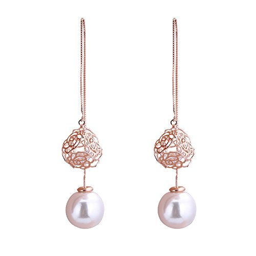 16mm Long Double Sided Simulated Pearl Drop Earrings with Cubic Zirconia Design (Cute Flapper Costumes)