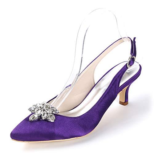Y De Novia Mujer Con Purple L Alto Punta Cm Encaje Zapatos 6 Tacón yc Cerrada Para Hebilla UnEg8p