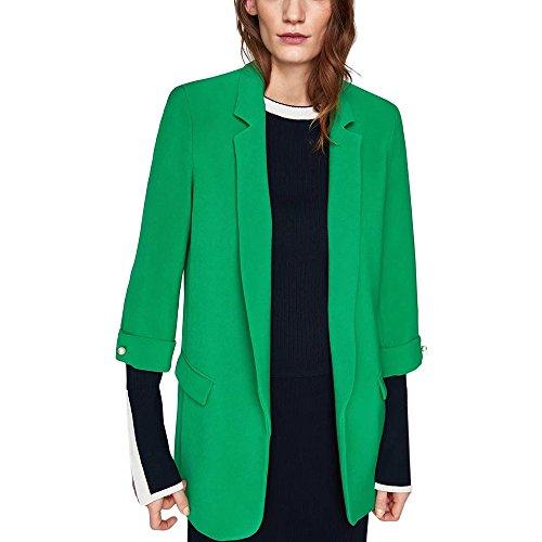 Lrud Simple col chale Revers des Femmes  Manches Longues Bonbons de Couleur Veste d'affaires Costumes Vert 2