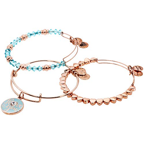 Alex and Ani Women's I Love You Bracelet, Set of 3 Shiny Rose One Size