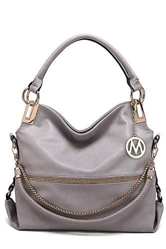 MKF Hobo Crossbody Bag for Women - Satchel Shoulder Handbag - Vegan Leather Top Handle Purse Removable Strap Grey
