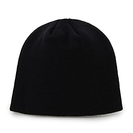 Reebok Black on Black Tonal Skull Cap NFL Knit Toque Cuffless Beanie Hat