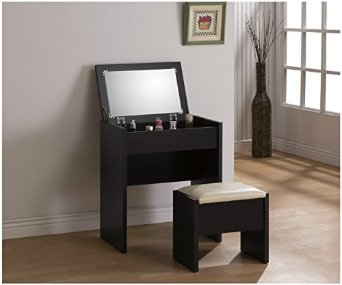 3-Piece Make-Up Heart Mirror Vanity Dresser Table Desk and Beige Stool Set, Black