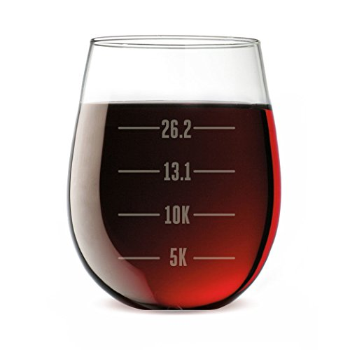 Runner's Measurements Engraved Stemless Wine Glass | Wine Glasses By Gone For a Run | 15 - Running Gifts Womens
