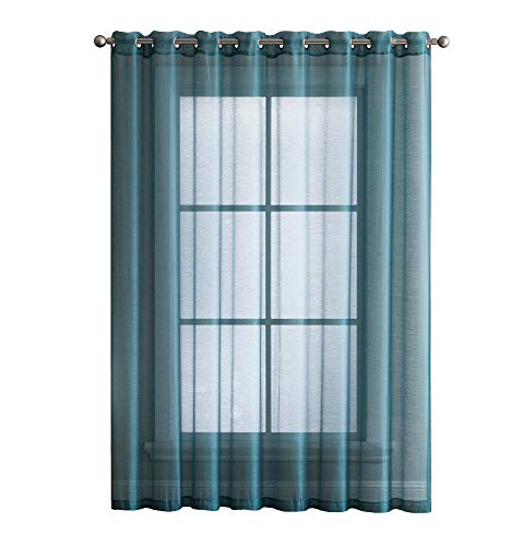 ASATEX 2 Panels - Window Grommet Semi-Sheer Curtains 84 Inch Long - Total Width 108 Inch (54 Inch Each Panel) - Beautiful, Elegant, Natural Light Flow, and Durable Material (Sea Green) ()