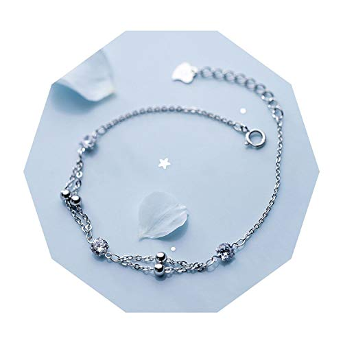 Slim Thin 925 Sterling Silver Multi Layers/Double Rows Polished Lucky Bead &Zirconia Chain - Coil Bracelet Row
