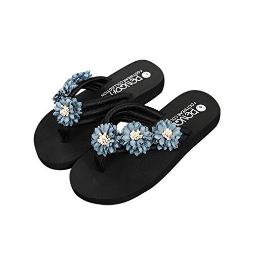 Deesee (tm) Nouveautés Femmes Filles Fleur Anti-dérapant Talon Plat Chaussures De Plage Pantoufles Résistantes Sandale Gris