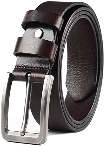 - COW STAUNCH Mens Dress Belt,Full Grain Leather Belt,Single Prong Big Buckle - for Casual Jeans (coffee1, 38-40inch)
