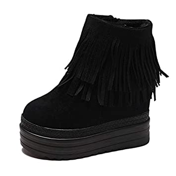 HRCxue Tacco a Spillo Increased Short Boots Inside Increased Short Boots Thick Bottom Wedge with Super High Heel Platform Shoes Was Thin