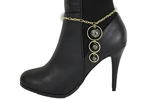 [TFJ Women Fashion Boot Bracelet Bling Metal Chains High Heel Shoe Urband 3 Black Balls Bling Charm] (Halloween Costume Ball Nyc)