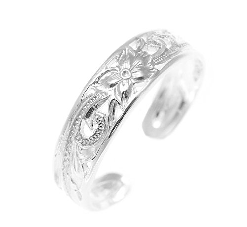 925 sterling silver Hawaiian plumeria flower scroll 4mm inside cut open toe ring (Hawaiian Plumeria Flower Ring)