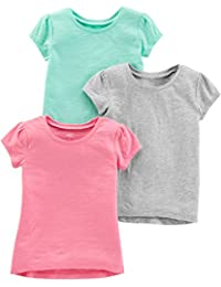 Girls' Toddler 3-Pack Solid Short-Sleeve Tee Shirts