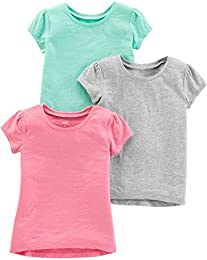 Toddler Girls 3-Pack Solid Short-Sleeve Tee Shirts