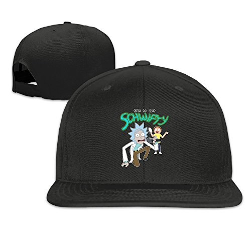 MORA Morty It's Time To Get Schwifty Rick Flat Billed Baseball Hats Caps Black (Rack Vintage Rick)
