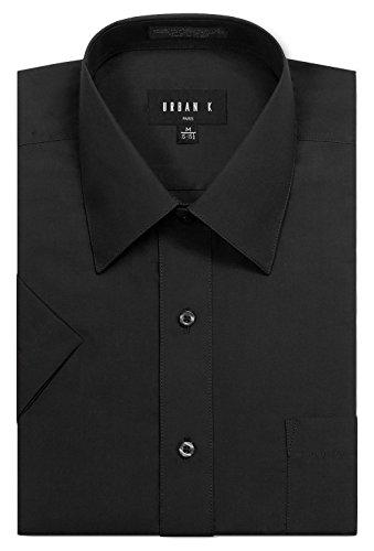 [URBAN K Men's Classic Fit Solid Formal Collar Short Sleeve Dress Shirts Regular & Plus Size] (Big And Tall Formal Wear)