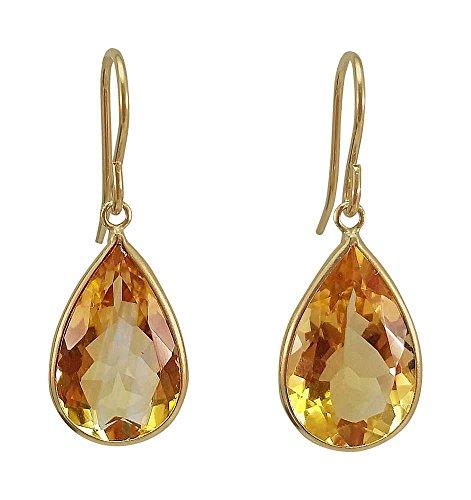 10.00 Ct Natural Citrine Pear Shape 14K Yellow Gold Dangle Women's Earrings