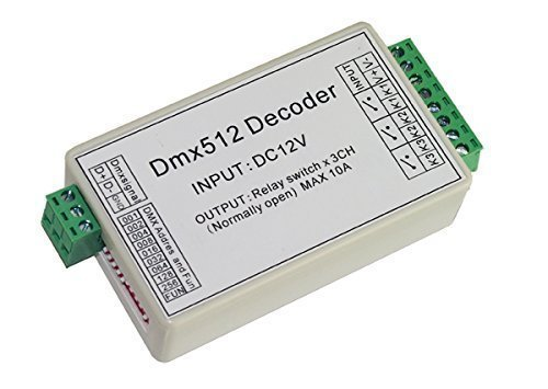 3 Channel 5A DMX512 Decoder Controller Relay Switch Kit DIY Converter DMX Dimmer Relay With Protective Shell Colorful-UK