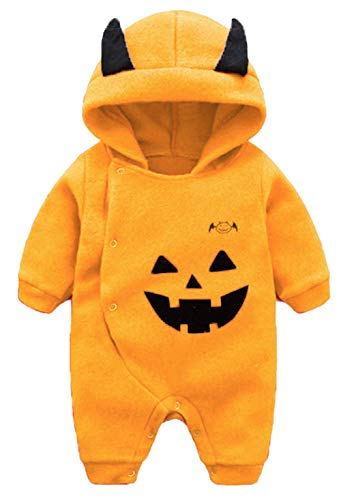 Baby Boys Girls Long Sleeve Cartoon Halloween Pumpkin Hooded Romper