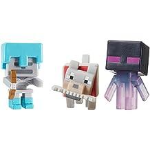 Minecraft Mini Figure 3-Pack, Wolf with Bone, Teleporting Enderman & Skeleton with Diamond Armor