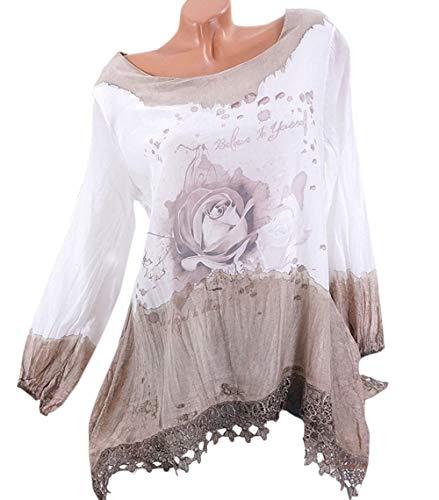 Rond Tops JackenLOVE Shirts Printemps Kaki Automne Col Femmes Chemisiers Imprime T Manches Longues Hauts Tunique Blouse et Mode Casual Shirt Tee Or6qwzOx