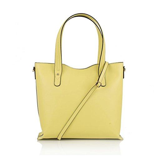 TARA Borsa a spalla Tote Shopper con manici e tracolla removibile pelle liscia giallo