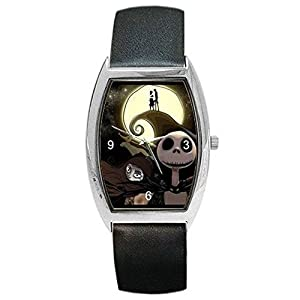 Halloween, Jack Skellington on Womens or Mens Barrel Watch with Leather Band