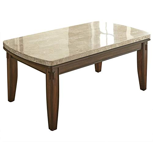 Steve Silver Eileen Marble Top Coffee Table in Hand Burnished Pecan ()