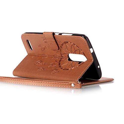 Funda ZTE Zmax Pro, Carcasa Plegable para ZTE Zmax Pro, Funda de cuero ZTE Zmax Pro,Lifetrut Sólido Shiny Sparkle libro de estilo funda de cuero con ranura para tarjetas de cierre magnético soporte fu E214-Atrapasueños En marrón