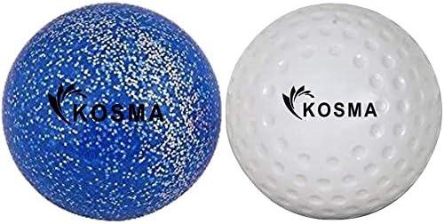 Outdoor Sports PVC Practice Training Balls Kosma Set of 2Pc Dimple Hockey Balls White Dimple, Blue Glitter