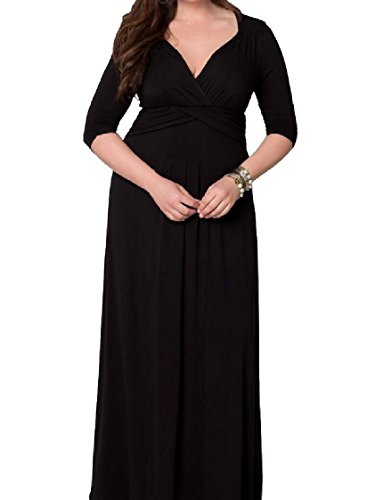 Plus Size Coolred Sexy V Solid Dress Maxi Neck Plunge Women Slim Fitting Black gxITqw4XI