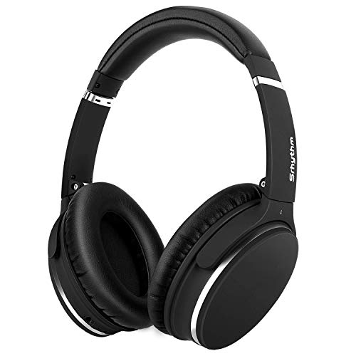 Noise Cancelling Headphones Real Over Ear,Wireless Lightweight Srhythm Durable Foldable Deep Bass Hi-Fi Stereo Bluetooth Headset with Mic and Wire for TV, PC, Cell Phone - Low Latency ()