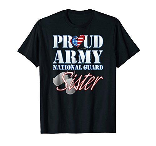 Proud Army National Guard Sister USA Heart Flag Shirt