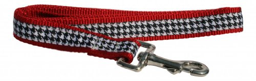 """A Polka Dot Life 'Scotty' Red and Black Houndstooth Dog Leash, 1"""" width, 5' length"""