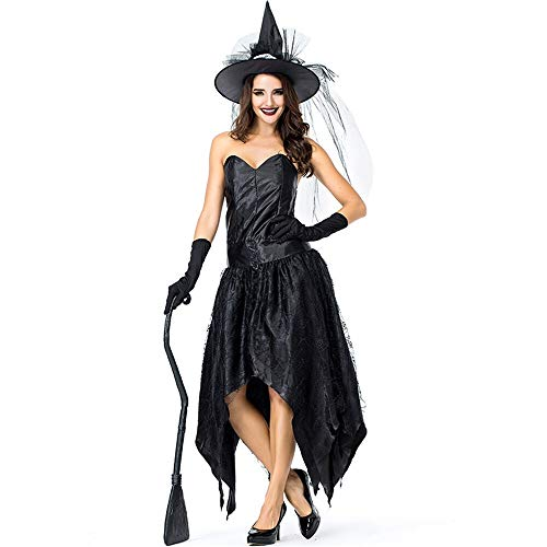 Women's Halloween Costume, Black Spider Web Halloween Costume, Halloween Sexy Dark Queen Princess Witch Character (Color : Style1, Size : M)