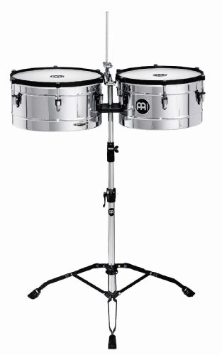 Meinl Percussion MT1415CH Marathon Series Chrome Finish Steel Timbales, 14-Inch and 15-Inch with Stand by Meinl Percussion