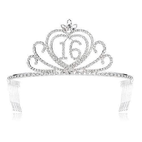 - DcZeRong Sweet Girls 16th Birthday Tiaras Crown Princess Girls 16 Birthday Crowns Crystal Tiara