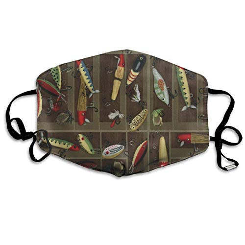 Vintage Fishing Lure Style Mask - Filters Dust, Pollen,Allergens, Cold & Flu Germs - Allergy Mask - Ideal for Airplane Travel, -