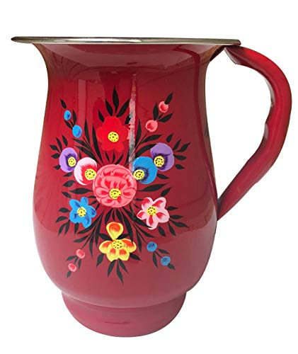 Red Floral Stainless Steel Hand-Painted Enamelware Pitcher