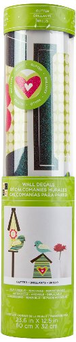 Die Cuts With A View Birdhouses With Birds, Heart, Flower Regular Peel & Stick Wall Art With Glitter, (Dcwv Green)