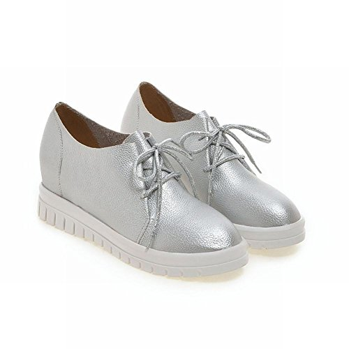 Carolbar Mujeres Lace-up Casual Comfort Fashion Hidden Wedge Tacón Oxfords Zapatos Plata