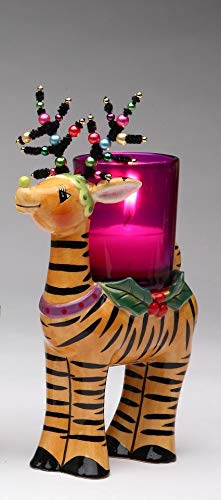 Cosmos Gifts Fine Ceramic Reindeer with Tiger Stripes Print and Beaded Antlers Design Tea Light Votive Candle Holder, 5-3/4