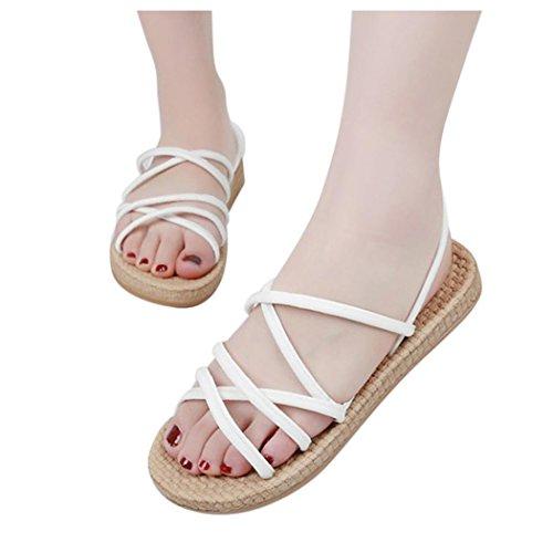 Sandales Plates Inkach Femmes - Mode Bohême Sandales Dété Bretelles Casual Chaussures Mocassin Blanc