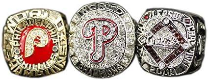 1980 2008 2009 MLB Philadelphia Phillies Championship Ring Set Anillos de Hombre, Championship Anillo de réplica Personalizado Anillos de Diamantes para Hombres,with Box,11#