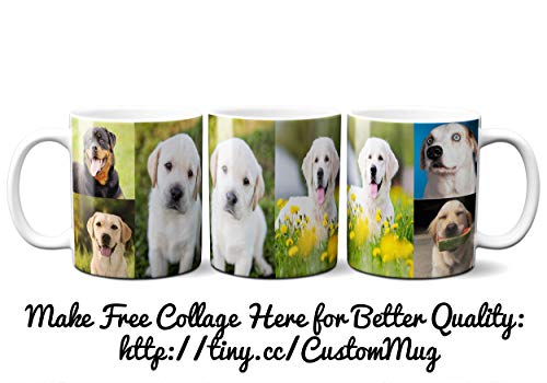 DIY Full Width Custom Personalized Full Print Mug Photo Picture 11 Ounce Coffee Mugs | Add Up to 6 Images in Mug | No Minimums - Great for Animal and ()