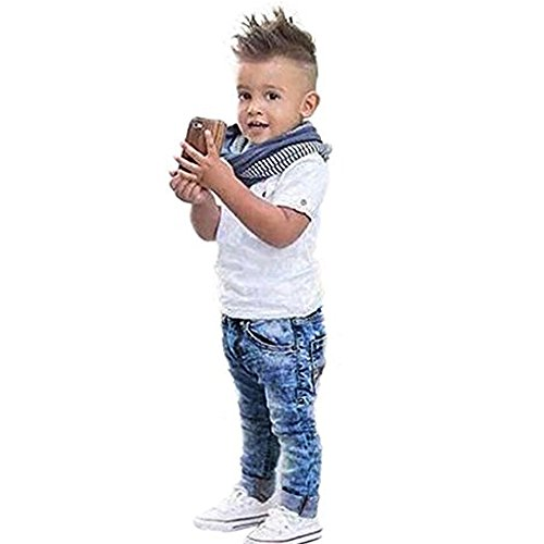 Rorychen Little Boys Stylish 3pcs Clothing Outfits:Solid Shirt+Scarf+Jeans(2-8T)