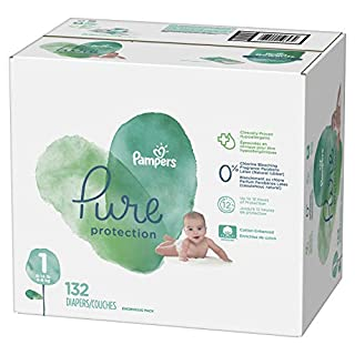 Diapers Size 1, 132 Count - Pampers Pure Protection Disposable Baby Diapers, Enormous Pack
