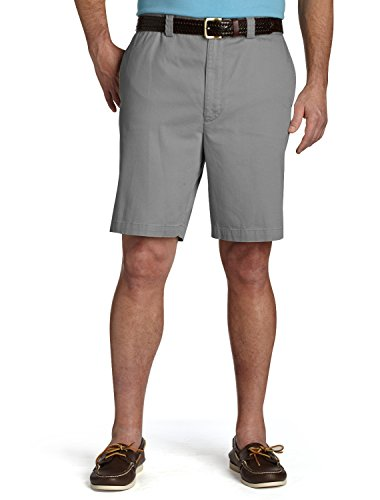 Harbor Bay by DXL Big and Tall Waist-Relaxer Flat-Front Shorts, Charcoal 44 Long ()